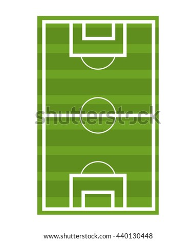 green soccer court front view over isolated background,vector illustration - stock vector
