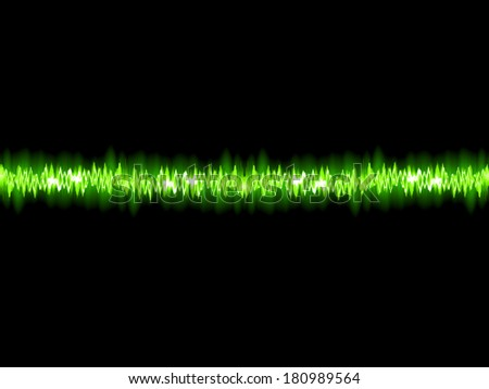 Green sound wave on white background. + EPS10 vector file - stock vector