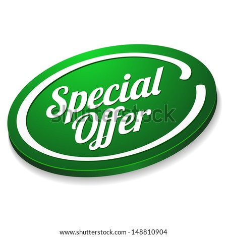 Green special offer button - stock vector