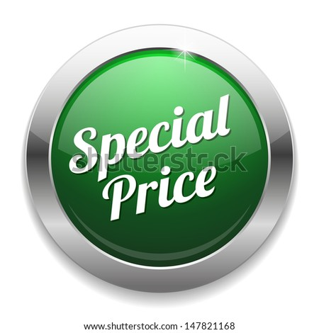 Green special price button - stock vector