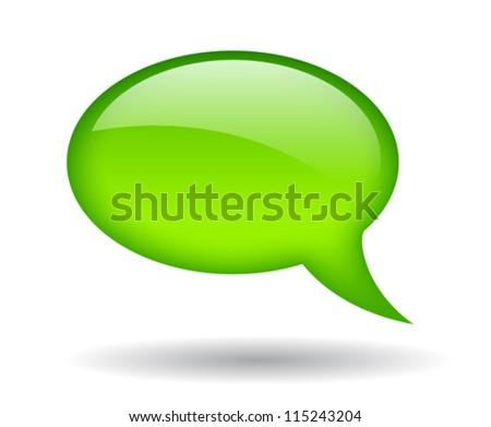 Green speech bubble, vector illustration - stock vector
