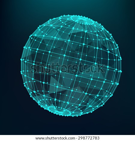 Green sphere with triangles and polygons from lines connected points. Black monotone background.