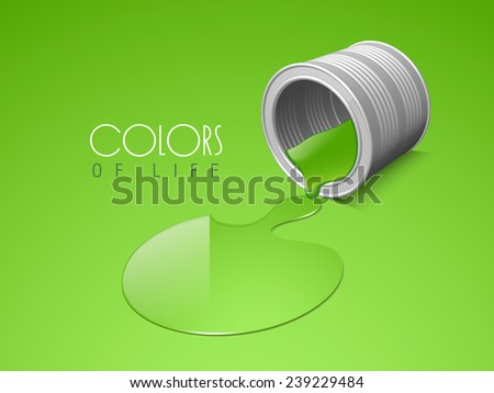 Green spilled paint can and stylish text of Colors Of Life on green background. - stock vector