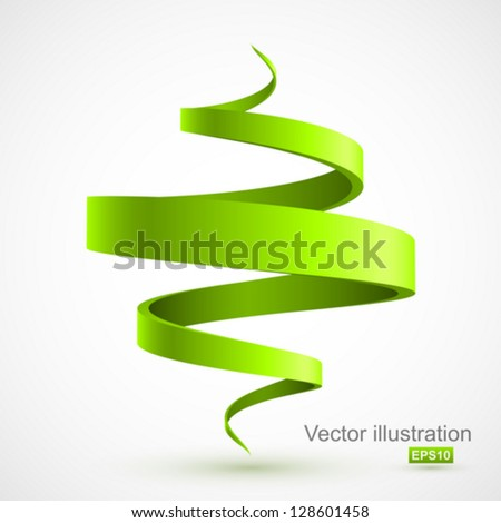 Green spiral 3D. - stock vector