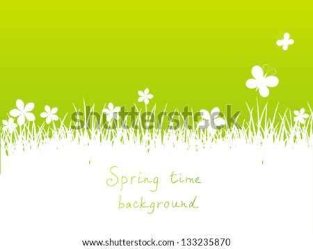 Green spring background with place for text - stock vector