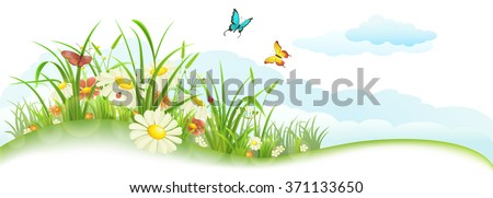 Green spring summer banner with grass, flowers, butterfly and clouds - stock vector