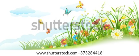 Green spring summer meadow with grass, flowers, butterfly and clouds - stock vector