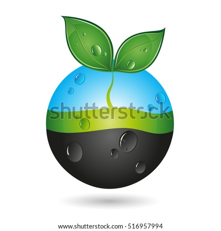 Green sprout and water drops, eco symbol vector