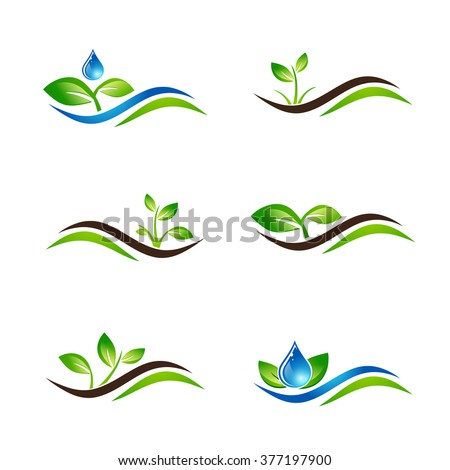 Green Sprout Landscape Agricultural Icon or Logo Design Collection Over White - stock vector