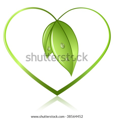 Green sprouts in shape of heart isolated on white background. Ecology preservation concept icon. - stock vector