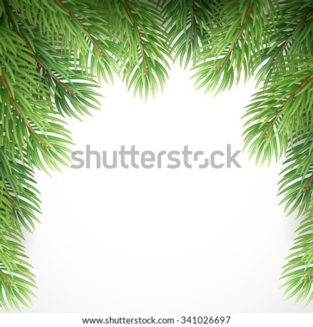 Green spruce branches like Christmas frame. Vector illustration EPS10