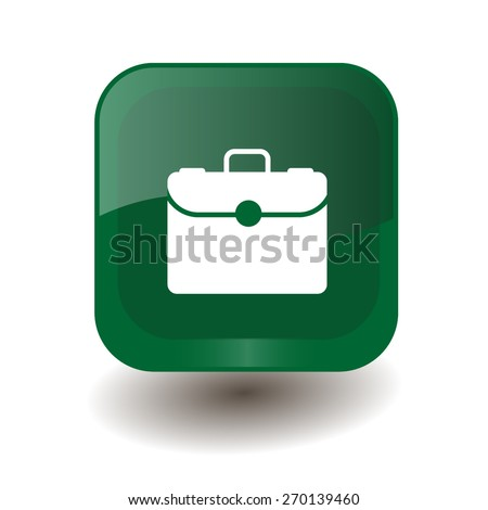Green square button with white briefcase sign, vector design for website - stock vector
