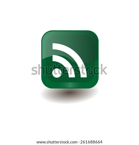 Green square button with white Wi-Fi sign, vector design for website  - stock vector