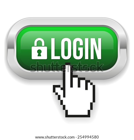 Green Square Login Button With Metallic Border On White Background - stock vector