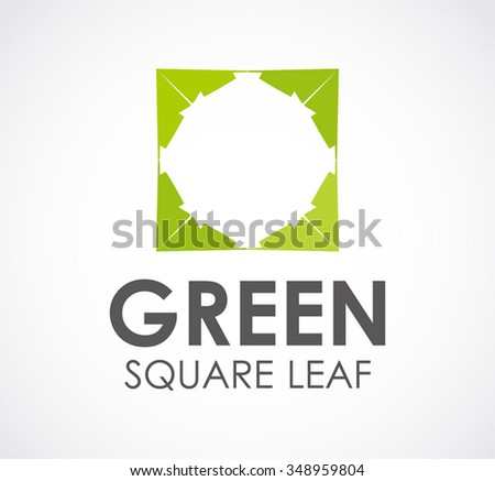 Green square of leaf abstract vector and logo design or template ecology frame business icon of company identity symbol concept - stock vector