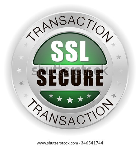 Green ssl secure transaction badge with silver border