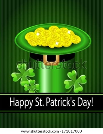 Green St. Patrick's Day hat with clover and coins. Vector illustration
