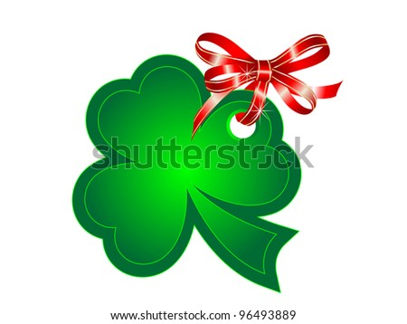 Green St.Patrick's shamrock with red ribbon - stock vector