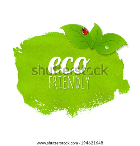 Green Stain With Leaves, Vector Illustration