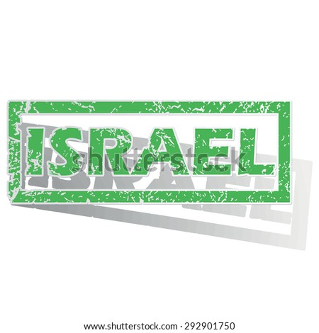 Green stamp with name Israel and shadow, isolated on white