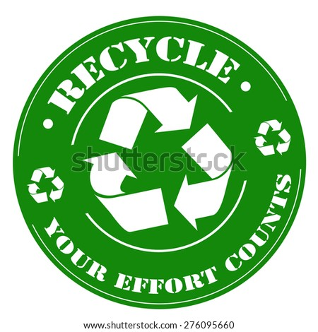 Green stamp with text Recycle,vector illustration - stock vector