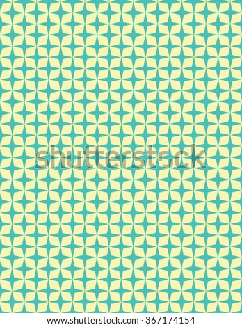 Green star pattern over yellow color background - stock vector