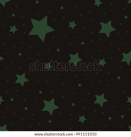 Green star seamless pattern. Repeating star background.