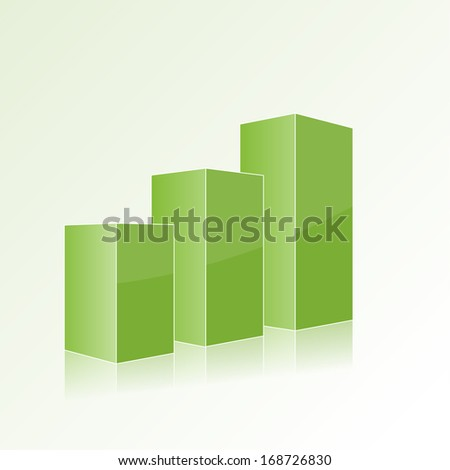 Green step by step chart with positive growth. Volumetric izolirovynnye figure template for design, web, reports, presentations Volumetric  isolated figure template for design,  reports, presentations - stock vector