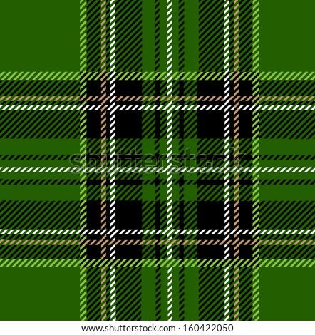 Green Stewart Tartan Seamless Design - stock vector