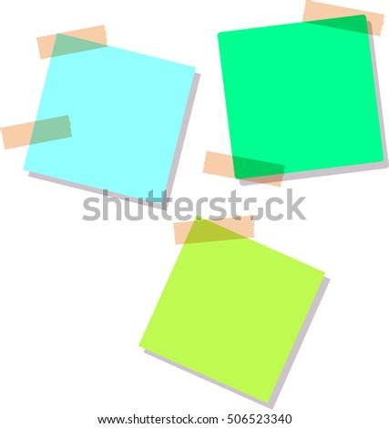 Green stick note isolated on white background, vector illustration