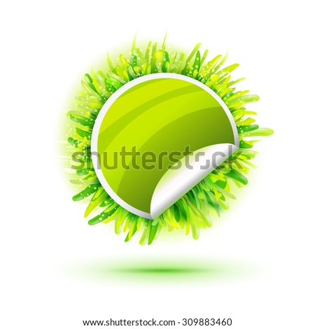 Green sticker with green realistic grass. Creative promotional vector banner. Eco friendly design. Ecology logo. Natural food. Organic logo. Eco friendly grass sticker. RAW diet logo. Vegetarian diet - stock vector