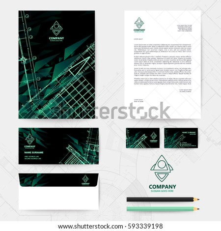 Black straight stripes back template design vectores en stock green straight stripes back and template design with blueprint background malvernweather Image collections