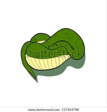 Green stylish snake isolated on white background - stock vector