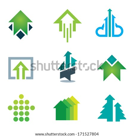 Green success logo business icons set in motivation and economy finance and banking - stock vector