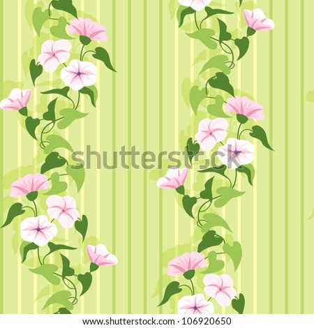 Green summer foral pattern with flowering pink flowers - stock vector