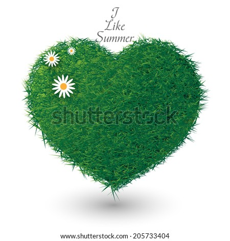 green summer heart - stock vector