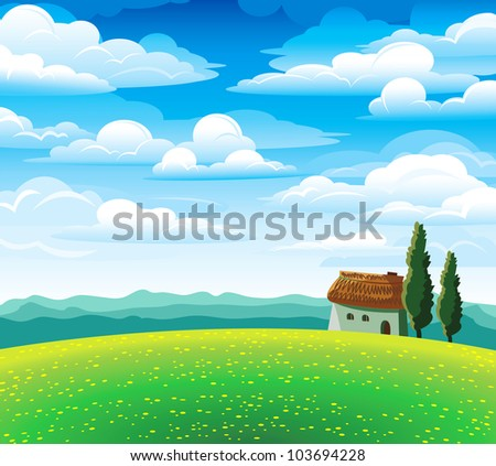 Green summer landscape with flourishing meadow, house and mountains on a blue cloudy sky - stock vector