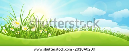 Green summer landscape with grass, flowers, hills and sun - stock vector