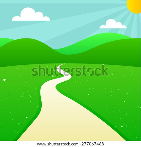 Green Summer Landscape with Sun, Sunshine, Clouds, Hills, Meadow and Road. Vector Outdoor Illustration. Scenic Countryside Background. - stock vector