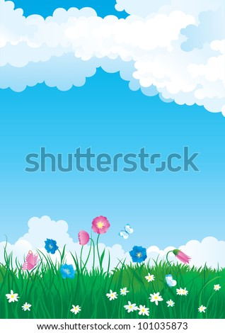 Green summer. Vector illustration of summer landscape with many flowers on green grass and blue sky with fluffy clouds