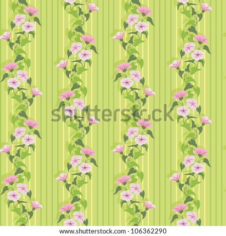 Green summer wallpaper with flowering pink bindweed - stock vector