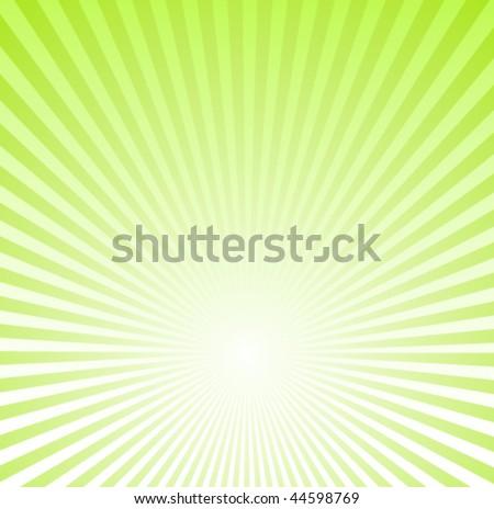 Green Sunburst Background - stock vector