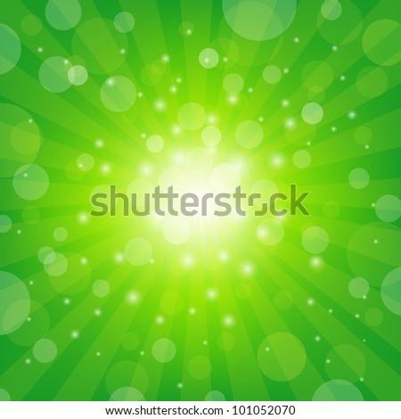 Green Sunburst Background With Bokeh, Vector Illustration - stock vector