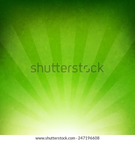 Green Sunburst Background With Gradient Mesh, Vector Illustration - stock vector