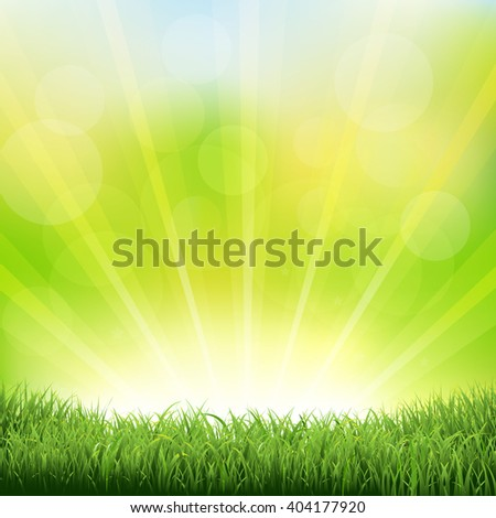 Green Sunburst Background With Green Grass And Sunburst, With Gradient Mesh, Vector Illustration - stock vector