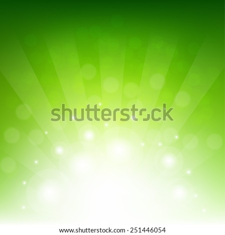 Green Sunburst Eco Background With Gradient Mesh, Vector Illustration - stock vector