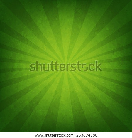 Green Sunburst Poster With Gradient Mesh, Vector Illustration - stock vector