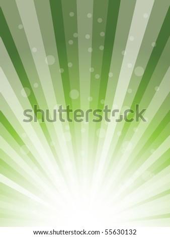 green sunburst vector - stock vector