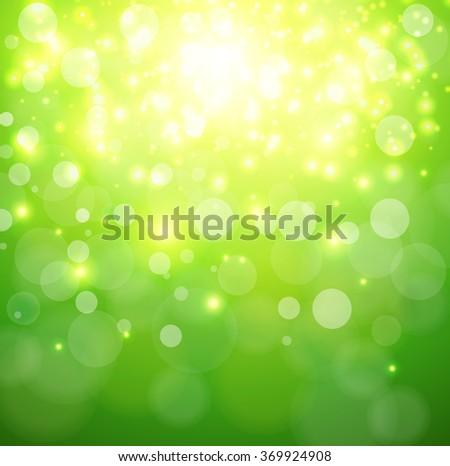 Green sunny background, glittering defocused bokeh, vector illustration. - stock vector