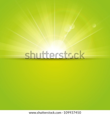 Green sunny background with place for text - stock vector